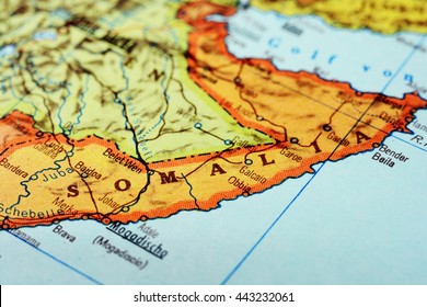 Close-up of a red pushpin on a map of Mogadishu, Somalia Africa - travel concept