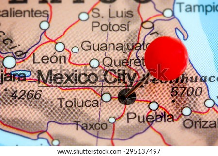 Closeup Red Pushpin Map Mexico Stock Edit Now