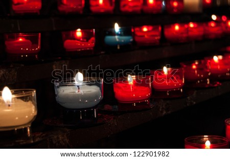 Closeup Red White Blue Candles Rows Stock Photo Edit Now 122901982