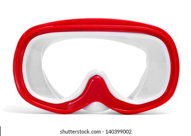 closeup of a red and white diving mask on a white background