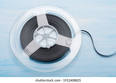 close-up reel with magnetic tape for recording music, retro option for listening to tracks