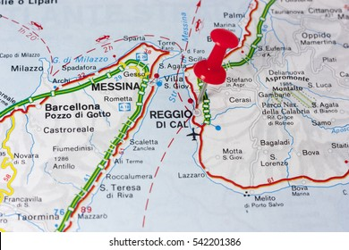 Closeup of Reggio Calabria Italy On A Map