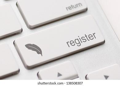 Closeup of register key in a modern keyboard.