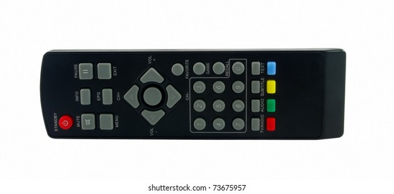 Closeup of remote control isolated over white
