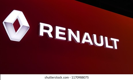 Close-up renault logo in mims 2018 exposition. Renault is the famous automobile factory from France. SEP 03, 2018 MOSCOW, RUSSIA