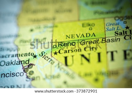 Closeup Reno Nevada On Political Map Stock Photo Edit Now