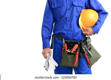 Close-up of a repairman isolated against white background with copy-space