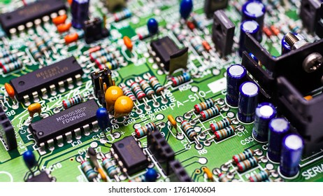 Close-Up Resistors and electronics on board electrical circuits.