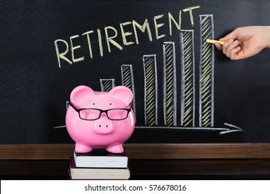 Close-up Of Retirement Saving Concept On Blackboard