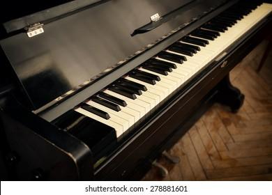 close-up of retro piano keys