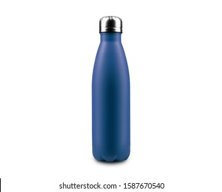 Close-up of reusable, steel thermo eco bottle for water, isolated on white background, color of Phantom Blue.