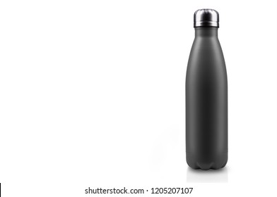 Close-up of reusable, steel thermo water bottle, black matte of color, isolated on white background with copy space. Zero waste. Say no to plastic disposable bottle. Environment concept. - Shutterstock ID 1205207107