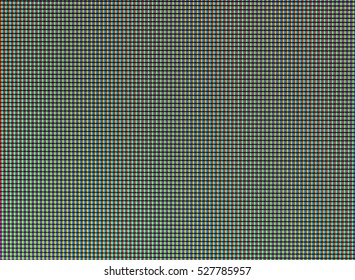 Closeup RGB led diode of led TV or led monitor screen display panel. Colorful led screen background, macro pixels on the screen