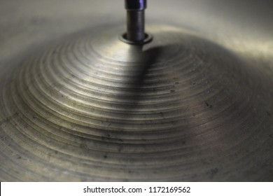 Close-up of ride cymbal drumset musical instrument