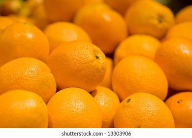 A close-up of ripe organic navel oranges