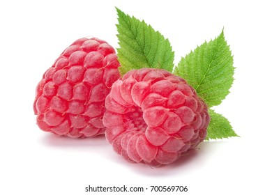 Closeup of ripe raspberries with leaves isolated on the white background, clipping path included.