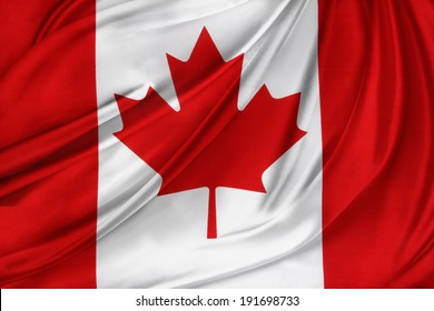 Closeup of rippled Canadian flag