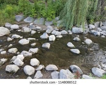 Closeup river rocks