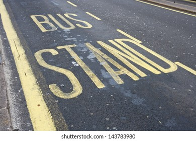 Close-Up of road marking saying Bus Stand in London, UK