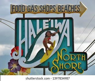 A closeup of a roadside Haleiwa North Shore sign on display on the island of Oahu Hawaii