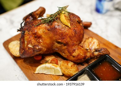 the close-up of the roast chicken