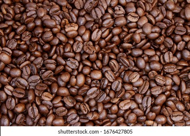 Close-up of roasted brown coffee beans
