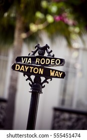 Close-up of the Rodeo Drive sign in Beverly Hills