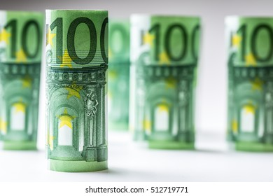 Close-up Rolled Euro Banknotes.
