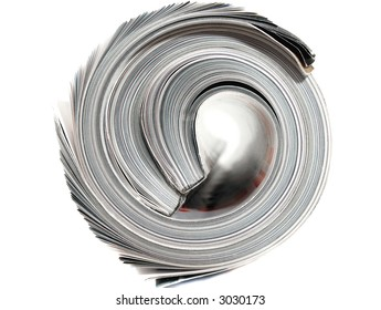 close-up of a rolled magazine
