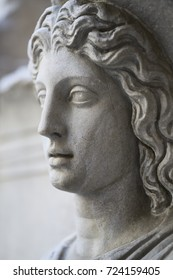 Close-up of a Roman sculpture of a woman's face