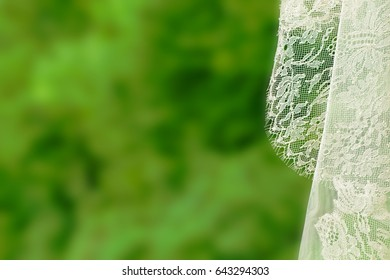 Closeup of a romantic white wedding veil with embroidery against a green background