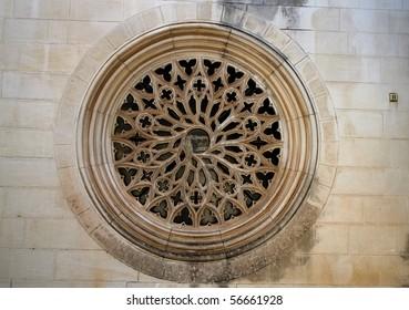 Closeup of a Rose Window Church.