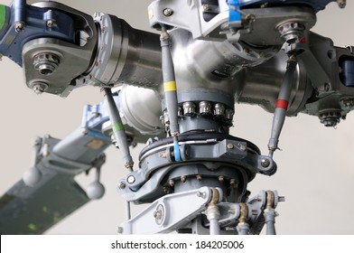 Close-up of the rotor mechanism of a helicopter