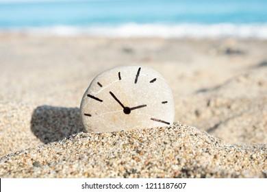 gros plan sur une pierre ronde à l'horloge, dessinée par moi-même, sur le sable d'une plage, avec la mer en arrière-plan