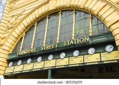 Close-up of the row of clocks above the main entrance of Flinders Street Railway Station in Melbourne, Australia