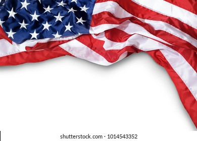 Closeup ruffled American flag isolated on white background