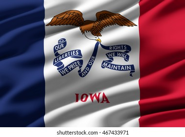 Close-up of ruffled flag of Iowa, background texture (High-resolution 3D CG rendering illustration)