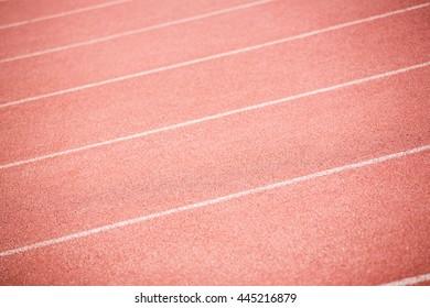 Close-up of running track in stadium