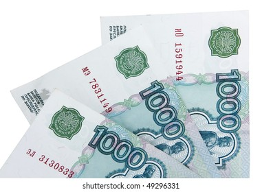Close-up of russian banknotes. One Thousand Ruble Notes.