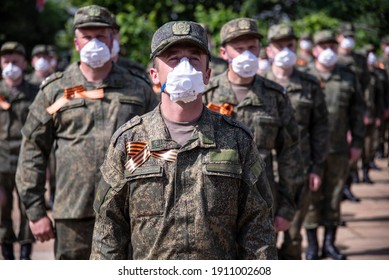 Closeup of Russian soldiers in a formation, paying respect to liberators of Belgrade, wearing protective masks due to corona virus, Covid-19 pandemic situation. Belgrade, Serbia 09.05.2020