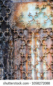 Close-up of rusted metal door, Greece