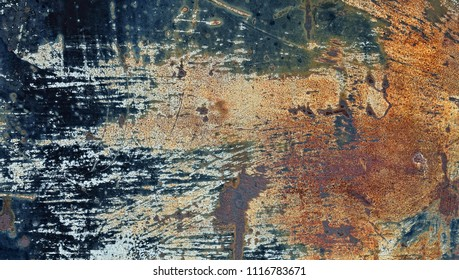 Close-up of rusty damaged metal sheet