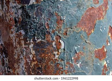 close-up of rusty iron pole. selective focus