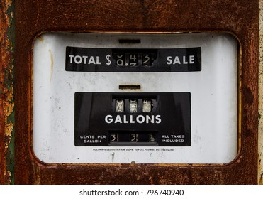 Closeup of a Rusty Old Gasoline Pump when gas was 33 cents a gallon