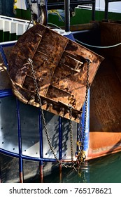 Closeup of rusty trawl door on the stern of a Trawler fishing boat. Vertical view & Trawl Door Images Stock Photos u0026 Vectors | Shutterstock