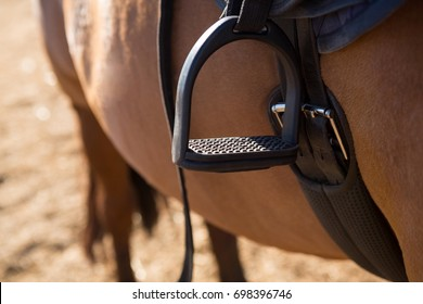 Close-up of saddle tied on horse in ranch