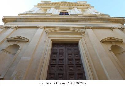The closeup Saint John the Baptist Church, Bastia, North Corsica