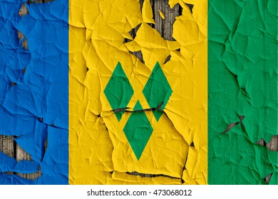 Close-up of Saint Vincent and the Grenadines flag on a cracked wall, background texture (High-resolution 3D CG rendering illustration)