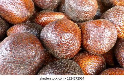 Closeup Salak or known as Snake fruit, Exotic brown fruit. Asia, Bali,Indonesia.