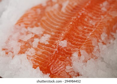 closeup of a salmon fillet on ice